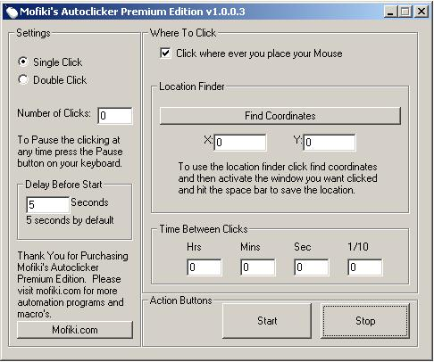 Click to view Mofiki's AutoClicker Premium 1.0.0.3 screenshot
