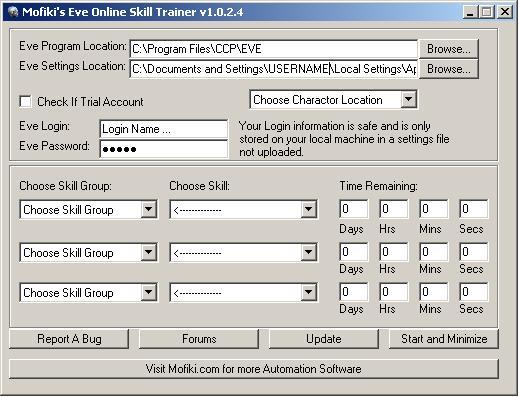 Mofiki's Eve Online Skill Trainer 1.0.0.1